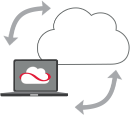 Image of a laptop running Cloud Edge backing up to the cloud