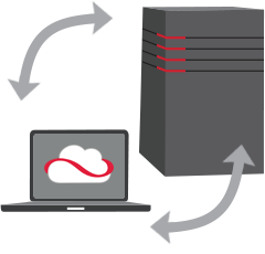 Image of a laptop running Cloud Edge backing up to a server