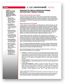 Datasheet - Simpana Backup and Recovery Datasheet