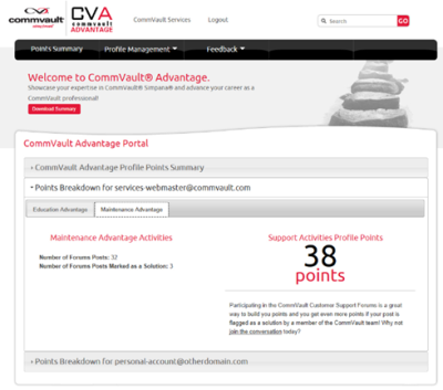 CommVault Advantage Support Activities