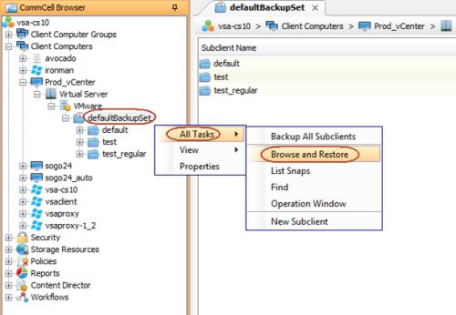Simpana 10 GUI - VM Recall